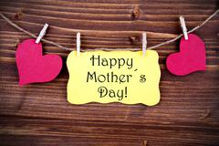 Yellow Label With Happy Mothers Day - stock photo
