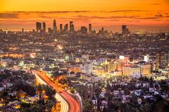 Los Angeles, California, USA downtown skyline at dawn. Stock Photos