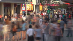 Timelapse crowded shopping street Shenzhen shop ad banner shopper day landmark   - stock footage