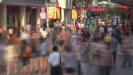Stock Video Footage of Timelapse crowded shopping street Shenzhen shop ad banner shopper day landmark