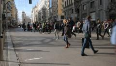 Crowd Of People  Crossing The Street In Downtown Madrid Stock Footage