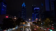 Stock Video Footage of Timelapse heavy traffic street highway Shenzhen cityscape commuting night iconic