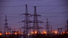 high-voltage transmission line background - stock footage