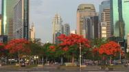 Stock Video Footage of Financial district modern skyscraper Shenzhen downtown park traffic street icon