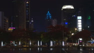 Stock Video Footage of Financial district crowded downtown Shenzhen cityscape traffic building night