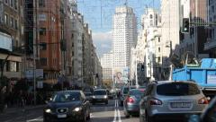 Traffic Jam In Central Madrid Stock Footage