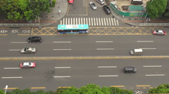 Aerial view traffic street freeway multiple lane Shenzhen people travel day icon Stock Footage