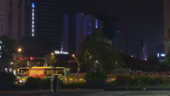 Stock Video Footage of City life downtown crowded district Shenzhen night traffic car street road busy