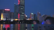 Stock Video Footage of Beautiful Kingkey finance building downtown Shenzhen night lake reflection icon