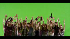 4K Crowd of fans and paparazzi on green screen. Slow motion. Stock Footage