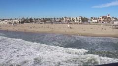 Aerial Shot of Beautiful Beach in Huntington Beach, California Stock Footage