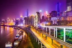 Chongqing, China Riverside Cityscape Stock Photos