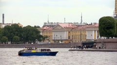 Ship floats on the river Neva. Stock Footage