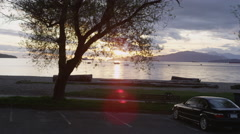 Beach Sunset Sailboats Stock Footage