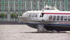 Comet ship floats on the river Neva. Stock Footage