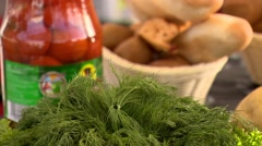 Fresh vegetables and pickle Stock Footage