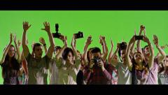 4K Crowd of fans and paparazzi on green screen. Slow motion. Arkistovideo