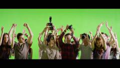 4K Crowd of fans and paparazzi on green screen. Slow motion. - stock footage