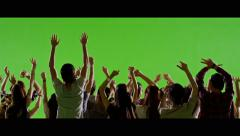 4K Crowd of fans dancing on green screen. Slow motion. - stock footage