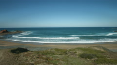 Ponta Ruiva beach wide angle pan shot Stock Footage