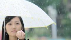 closeup of girl with umbrella - stock footage