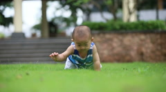 baby crawling on grass - stock footage