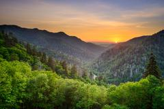 Sunset at the Newfound Gap in the Great Smoky Mountains. - stock photo