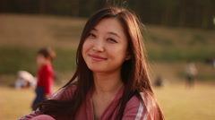 smiling face of asian woman - stock footage