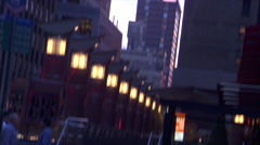 NY-buildings lights sunset pov - stock footage