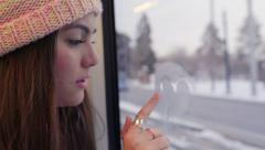 Multi-Ethnic Teen Rides Train, She Draws A Heart, Then She Smiles Stock Footage