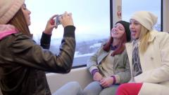 Multi-Ethnic Teen Takes A Photo Of Her Funny Friends Riding On A Train Stock Footage