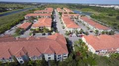 4k aerial residential community Stock Footage