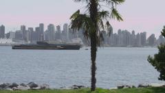 Slomo - Ocean Freighters Skyline Palm Tree - stock footage