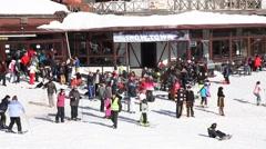When people enjoying at Kartepe Mountain in winter season on January Stock Footage