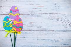 Decorated Easter felt homemade Stock Photos