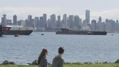Slomo - Ocean Freighters Skyline Young Couple - stock footage