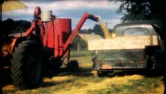 71 - farmers cut & collect crop in farm fields - vintage film home movie Stock Footage