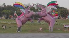 Dolly shot - Taiwan 2015 lantern festival twin elephants Stock Footage