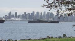 Slomo - Ocean Freighters Skyline Seagull - stock footage