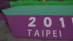 Pan - 2015 Taiwan lantern festival sign Stock Footage