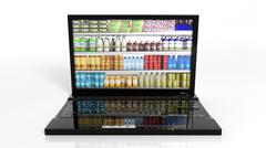 Online shopping concept with laptop and products on refrigerator shelves - stock illustration