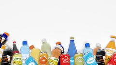 Group of various refreshments isolated on white - stock illustration