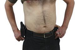 Half naked security man with a traumatic gun Stock Photos