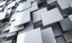 White Blocks Abstract Background - stock illustration