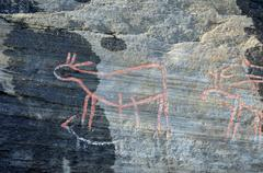 Old rock carvings Stock Photos