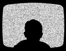Child watching tv - stock illustration