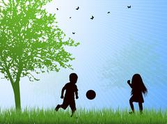 happy children silhouettes outdoors - stock illustration