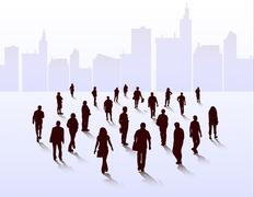 People walking silhouettes - stock illustration