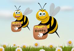 Busy Bees - stock illustration
