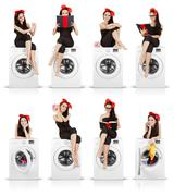 Cute Girl on Washing Machine Funny Collage - stock photo